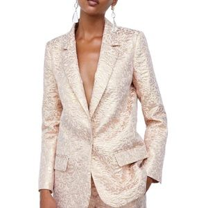 Zara basic jacquard gold metallic blazer
